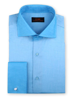 Steven Land Dress Shirt 100% Cotton French Cuff Spread Collar Color Blue