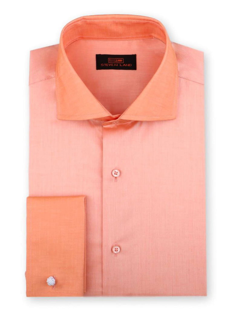 Steven Land Dress Shirt 100% Cotton French Cuff Spread Collar Color Peach