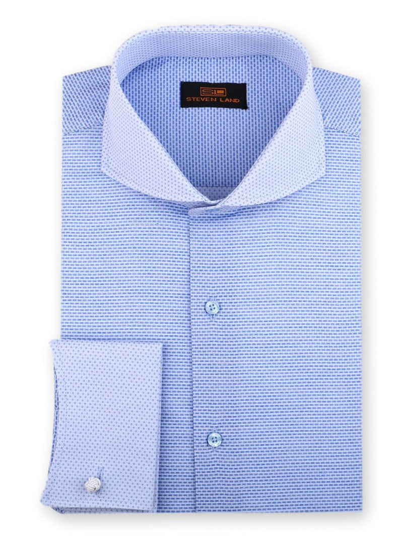 Steven Land Dress Shirt Classic Fit 100% Cotton French Cuff Cutaway Collar Color Blue