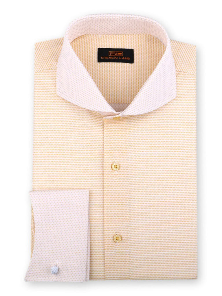 Steven Land Dress Shirt Classic Fit 100% Cotton French Cuff Cutaway Collar Color Peach