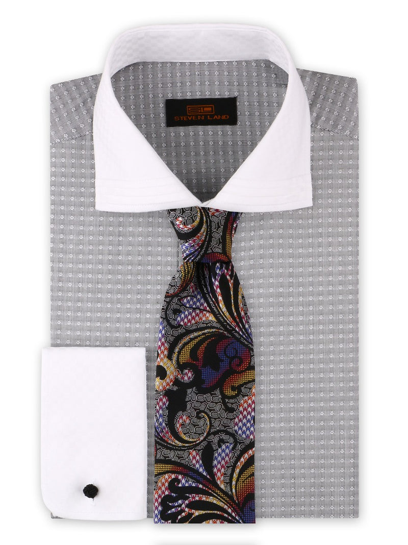 Dress Shirt | DW1909 | Classic Fit | 100% Cotton | Wide Spread Collar | French Round Cuff | Silver