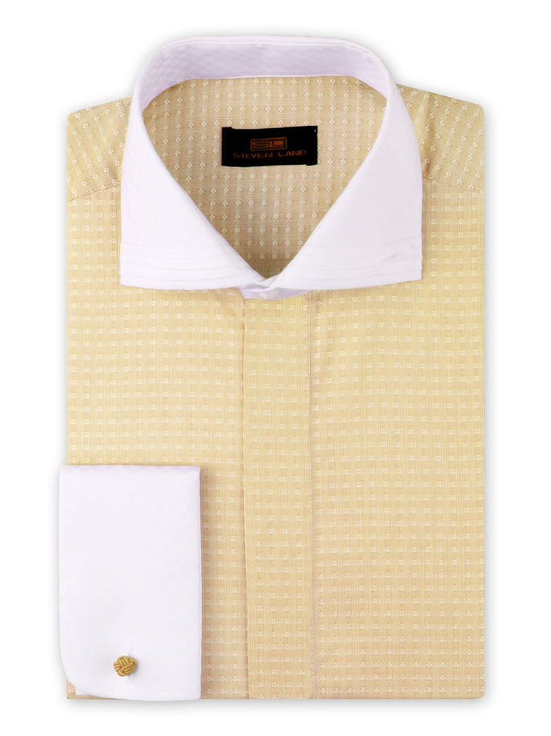 Steven Land Dress Shirt Classic Fit 100% Cotton Spread Collar Round Cuff Yellow
