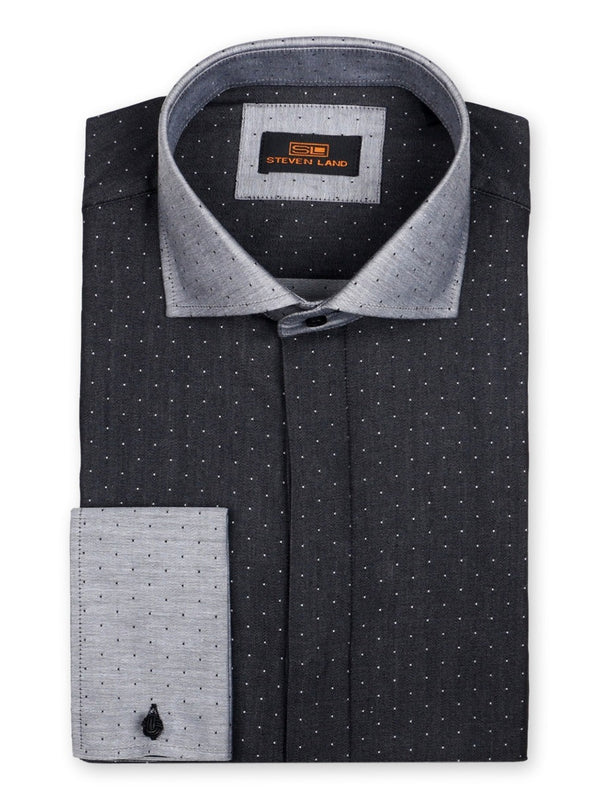Textured Diamond Dress Shirt | Black | DW719
