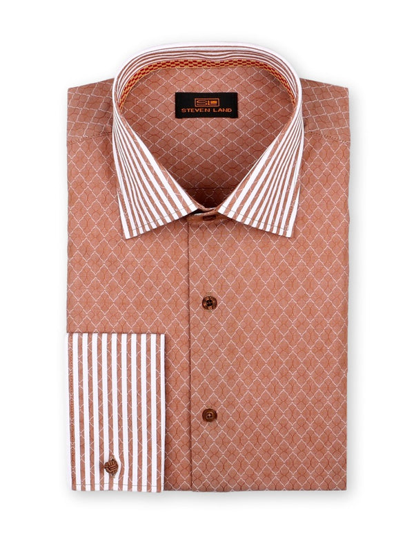 Dress Shirt | DW765 | Classic Fit | 100% Cotton | Spread collar | French square cuffs | Brown