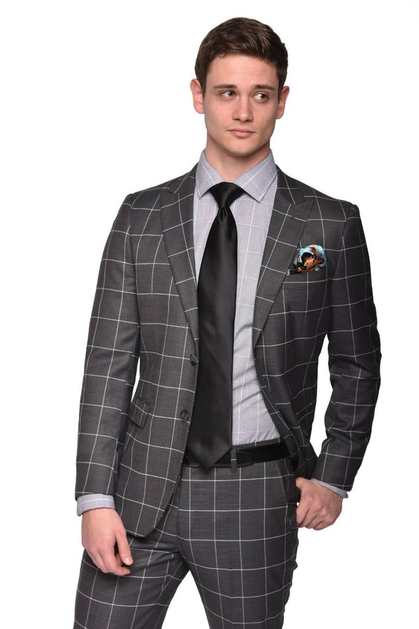 Steven Land | Slim Fit Dante 2 PC Suit | Grey Windowpane