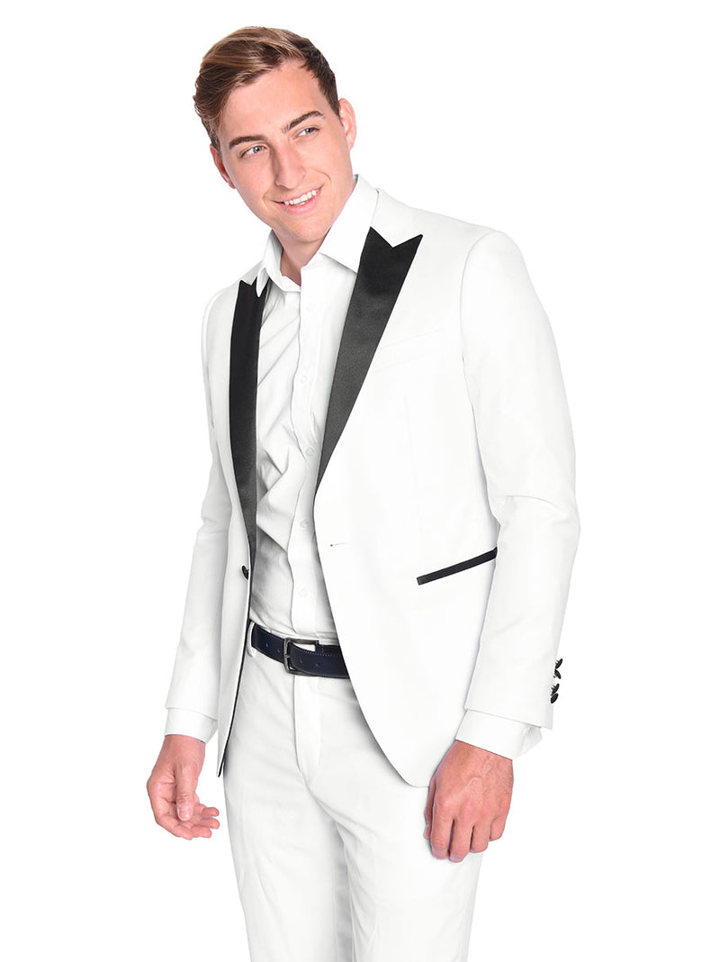 Steven Land | Dante | Slim Fit White Elegant Tuxedo | Short and Tall Sizes