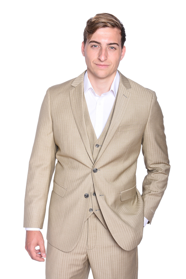 Steven Land | Duomo 3 Piece Suit | Pin Stripe Tan