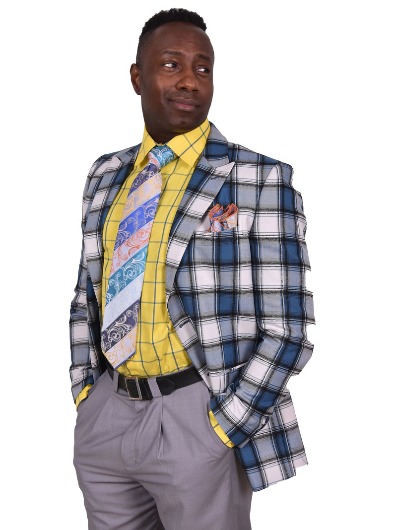 Steven Land | Etro Checker Plaid Blazer | Blue