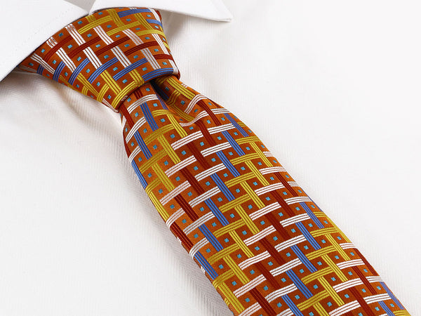 New! Steven Land HD Collection | Tie + Matching Hanky Set | HD270 | Bright Crosshatch