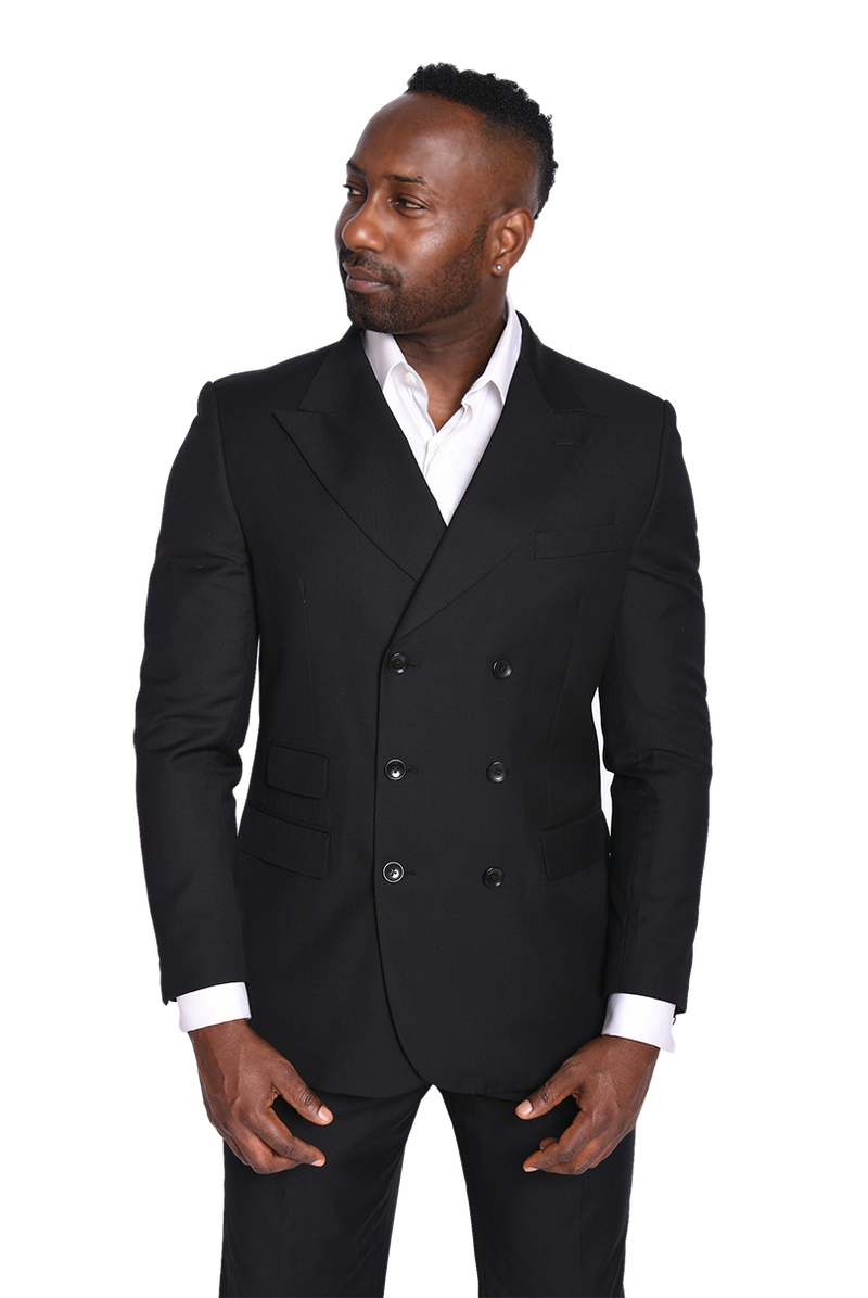 Steven Land | Frederico Double Breasted Suit | Black