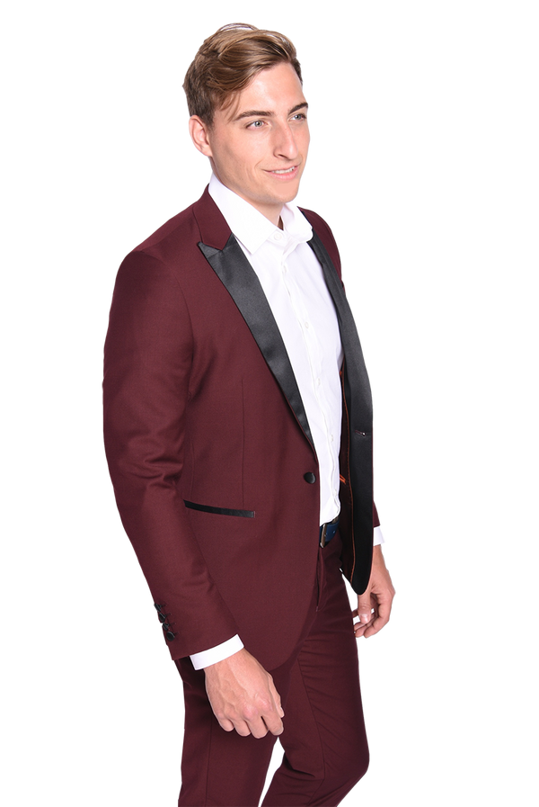 Steven Land | Dante | Slim Fit Burgundy Formal Tuxedo | Short and Tall Sizes