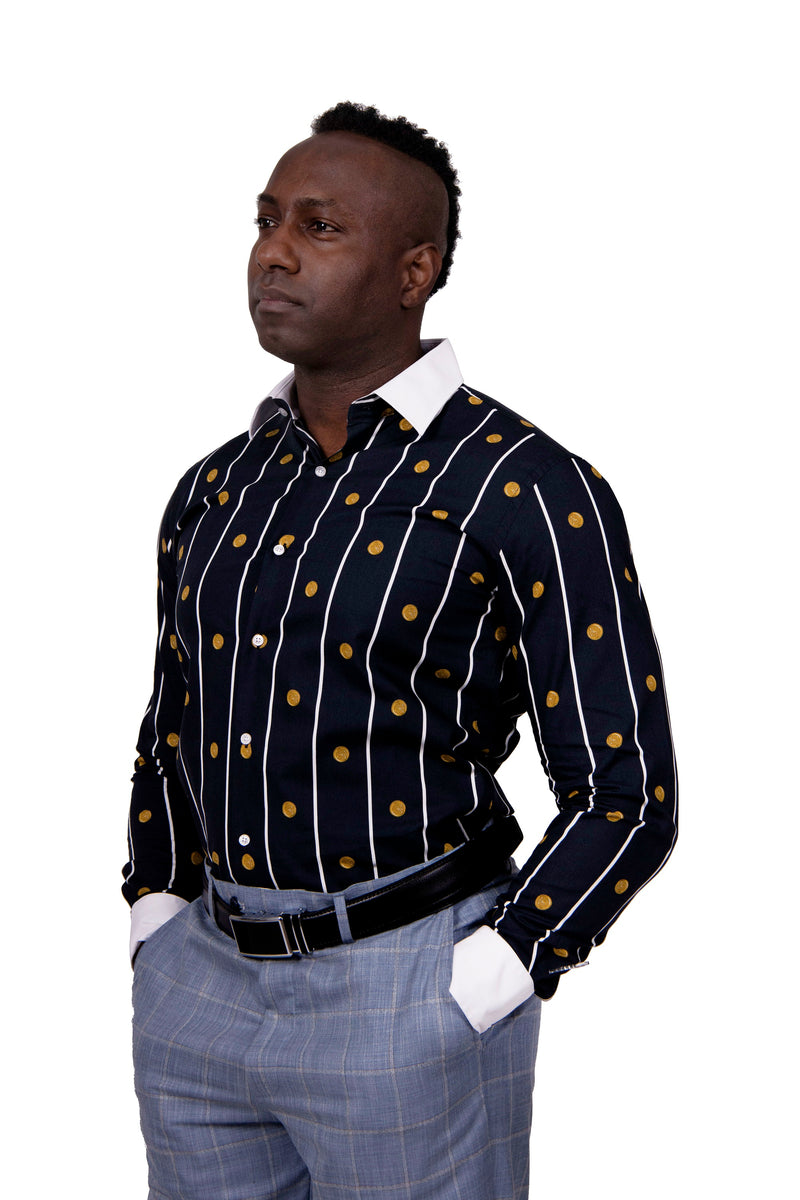 25% OFF | Steven Land | Greek Medallion Dress Shirt | Black