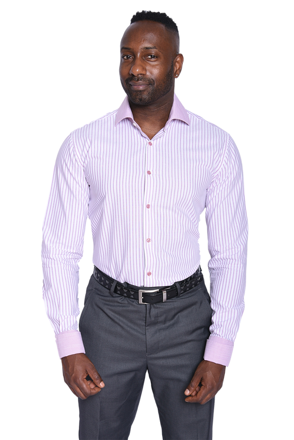25% OFF | Steven Land | Legacy Stripe Dress Shirt | Color Berry