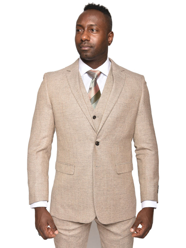 Steven Land | Duomo 3 PC Wool Suit | Tweed Sand Color