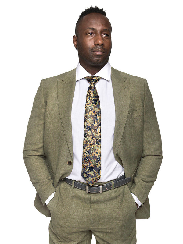Steven Land | Enzo Wool 2 Piece Suit | Khaki Tweed