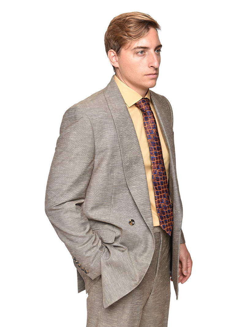 Steven Land | Double Breasted Franco 2 Piece Suit | Taupe