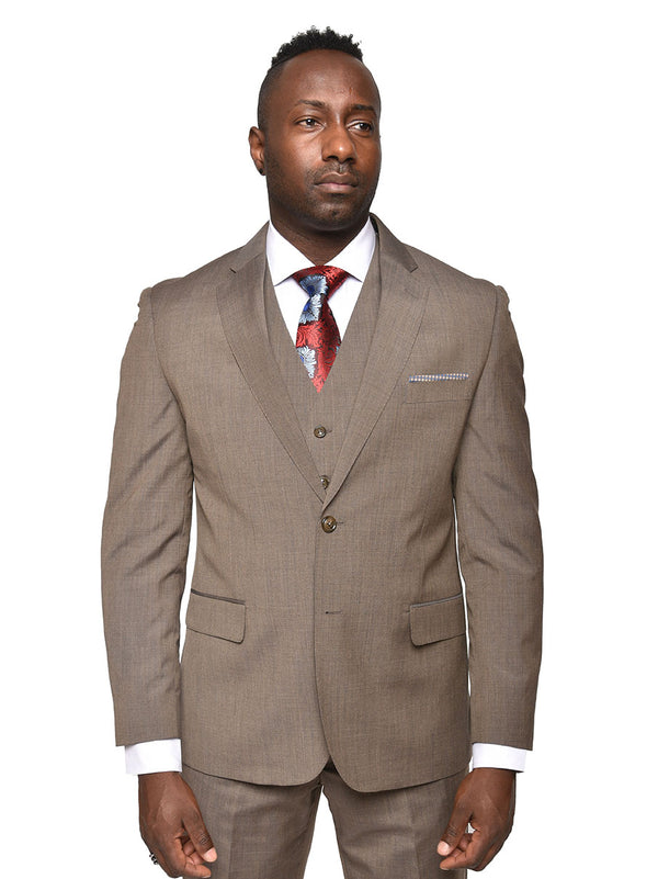 Steven Land | Carlo 3 PC Wool Suit | Solid Heather Brown