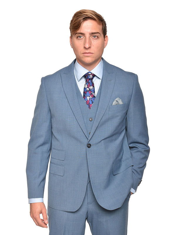 Steven Land | Dino 3 PC Wool Suit | Heather Blue
