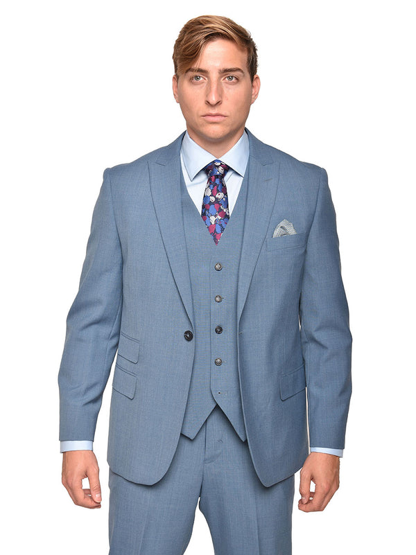 Steven Land | Dino 3 PC Suit | Heather Blue
