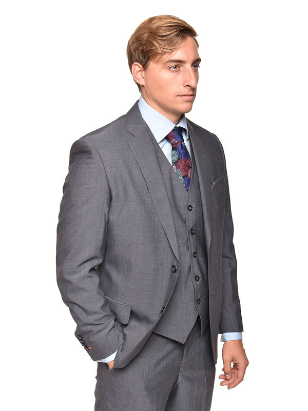 Steven Land | Carlo 3 PC Wool Suit | Solid Heather Grey