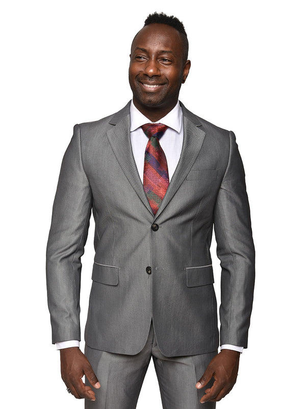 Steven Land | Pietro | Slim Fit | Solid Silver 2 Piece Suit