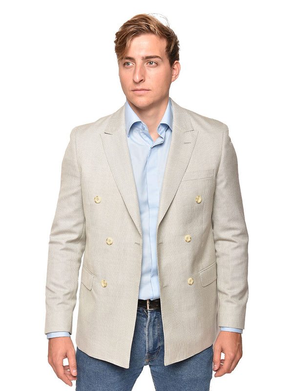 Steven Land | Antonio Double Breasted Blazer | White Sage