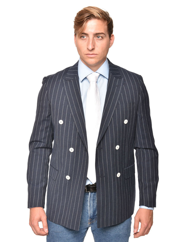 Steven Land | Antonio Double Breasted Blazer | Seersucker Blue Pinstripe