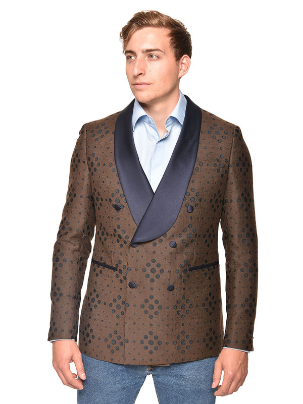 Steven Land | Bellino Double Breasted Tuxedo Blazer | Brown