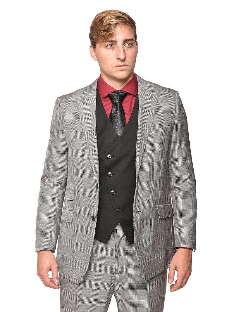 Steven Land | Ricci 3 PC Wool Suit | Black Houndstooth