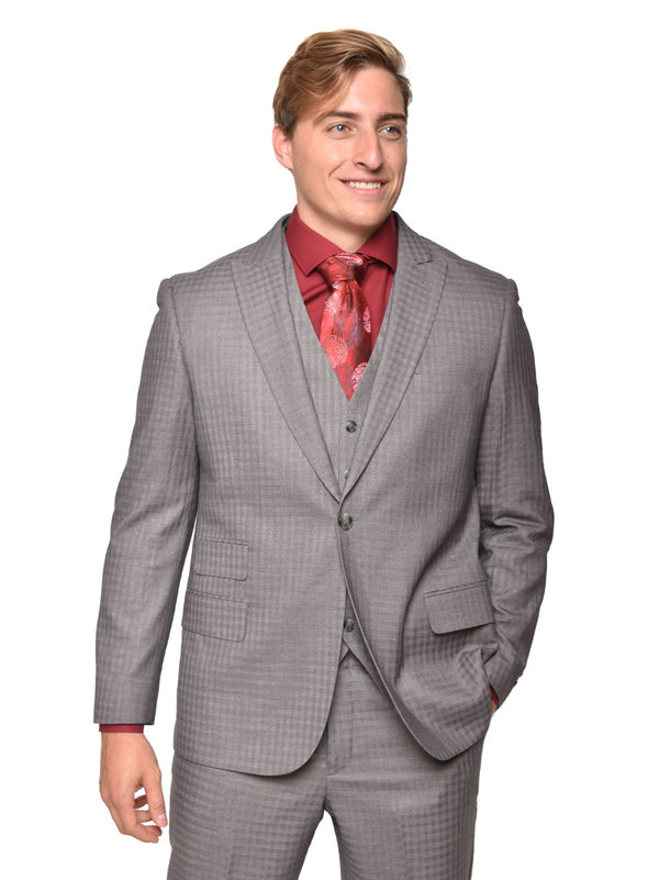 Steven Land | Dino 3 PC Suit | Grey Gingham