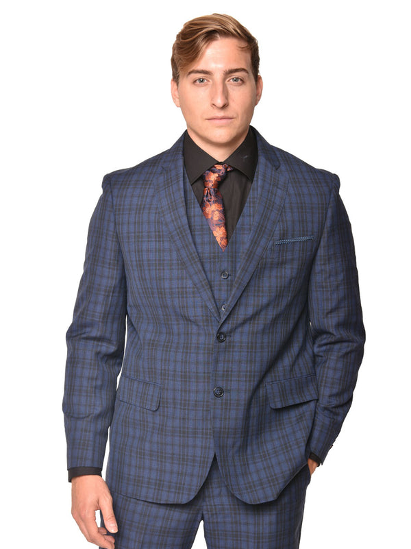 Steven Land | Carlo 3 PC Wool Suit | Short and Tall Sizes | Blue Plaid Check