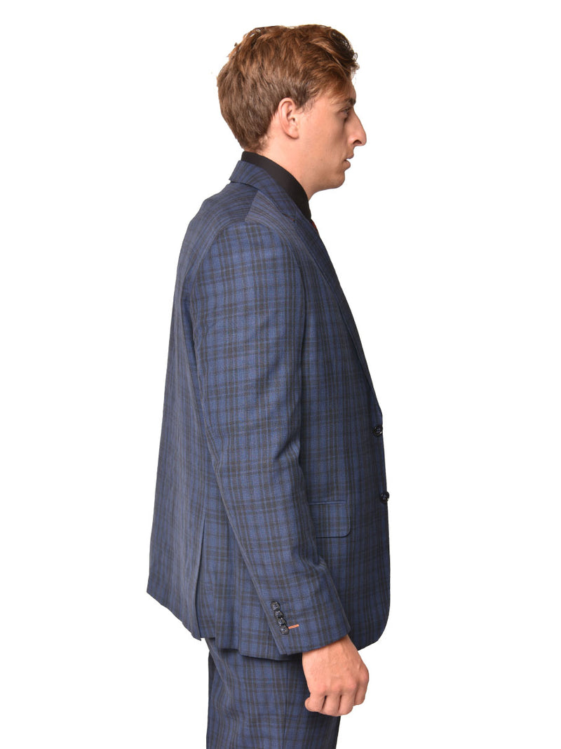 Steven Land | Carlo 3 PC Wool Suit | Blue Plaid Check