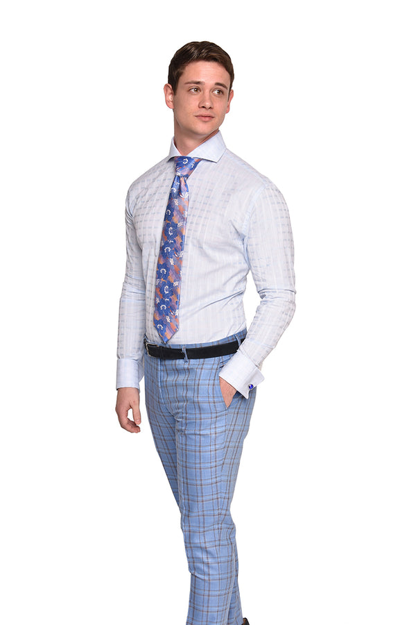 Strié Check Dress Shirt | Blue | DA1902