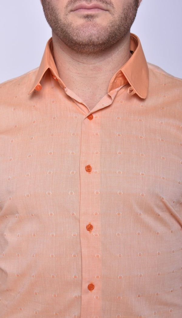 Steven Land | Melange Dot Shirt | Club Collar With Tab