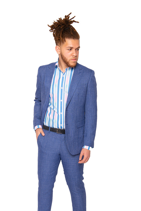 STEVEN LAND | Azure Blue Melange | Slim Fit Dante Suit | SL77-300