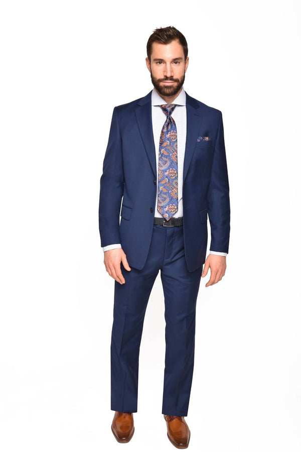 STEVEN LAND | Pietro Wool Suit | Navy Solid