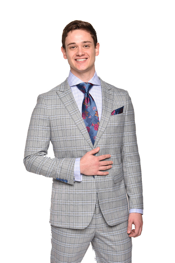 Steven Land | Slim Fit Dante Wool 2 PC Suit | Marl Grey Plaid