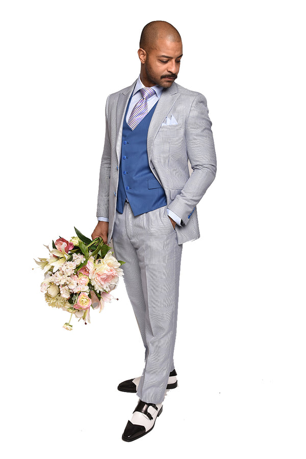 Steven Land | Ricci Sky Blue Hounds- tooth 3 PC Suit | Classic Fit | SL77-541