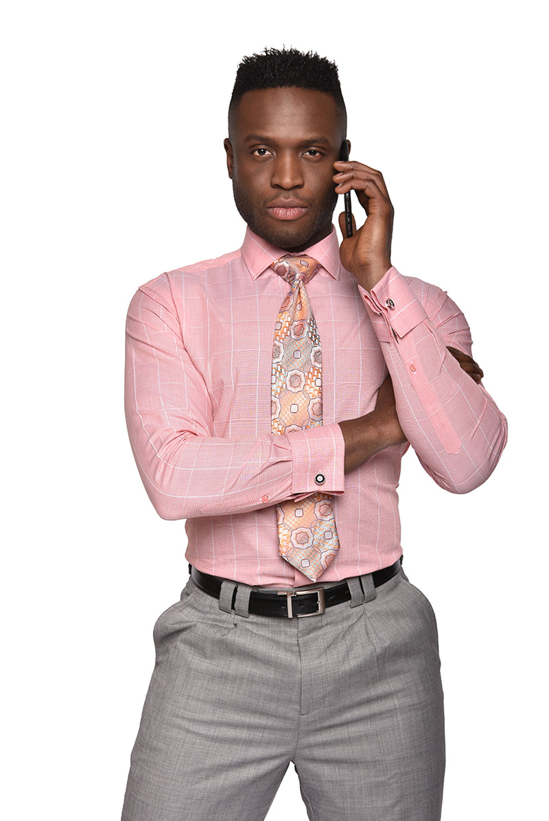Fine Graph Dress Shirt | Peach | DC1937
