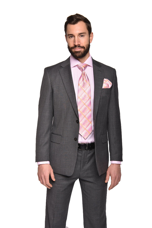 STEVEN LAND | Pietro Wool Suit | Grey Solid