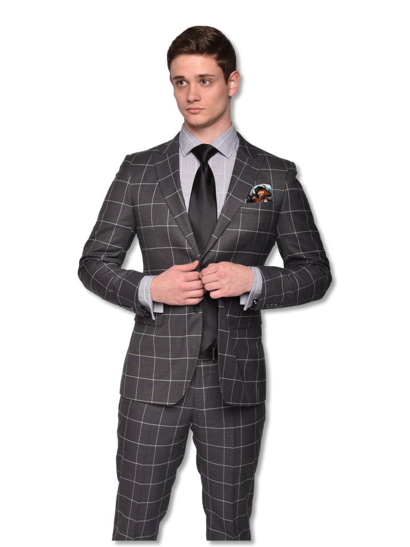 Steven Land | Grey Windowpane | Slim Fit Dante Suit | SL77-553