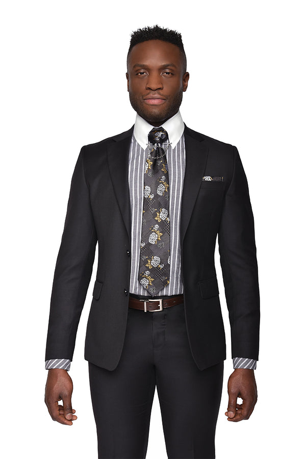 Steven Land | Pietro 2 PC Suit | 100% Wool | Black Solid