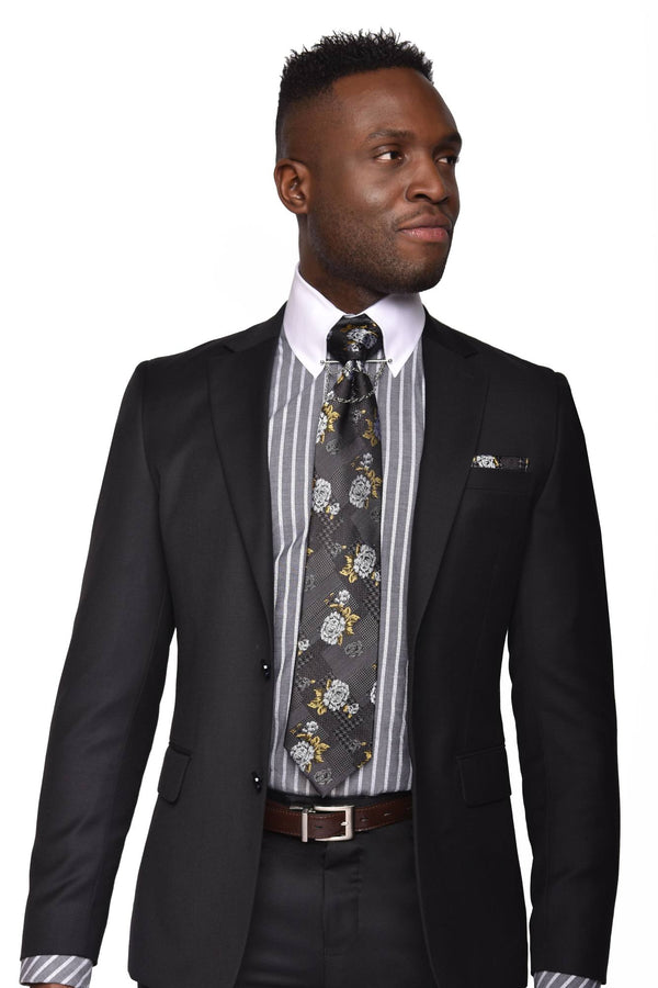 Pietro Suit | SL50/01 Black Solid Suit