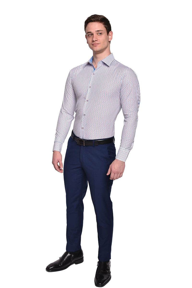Micro Diamond Striped Dress Shirt | Blue | DC1934