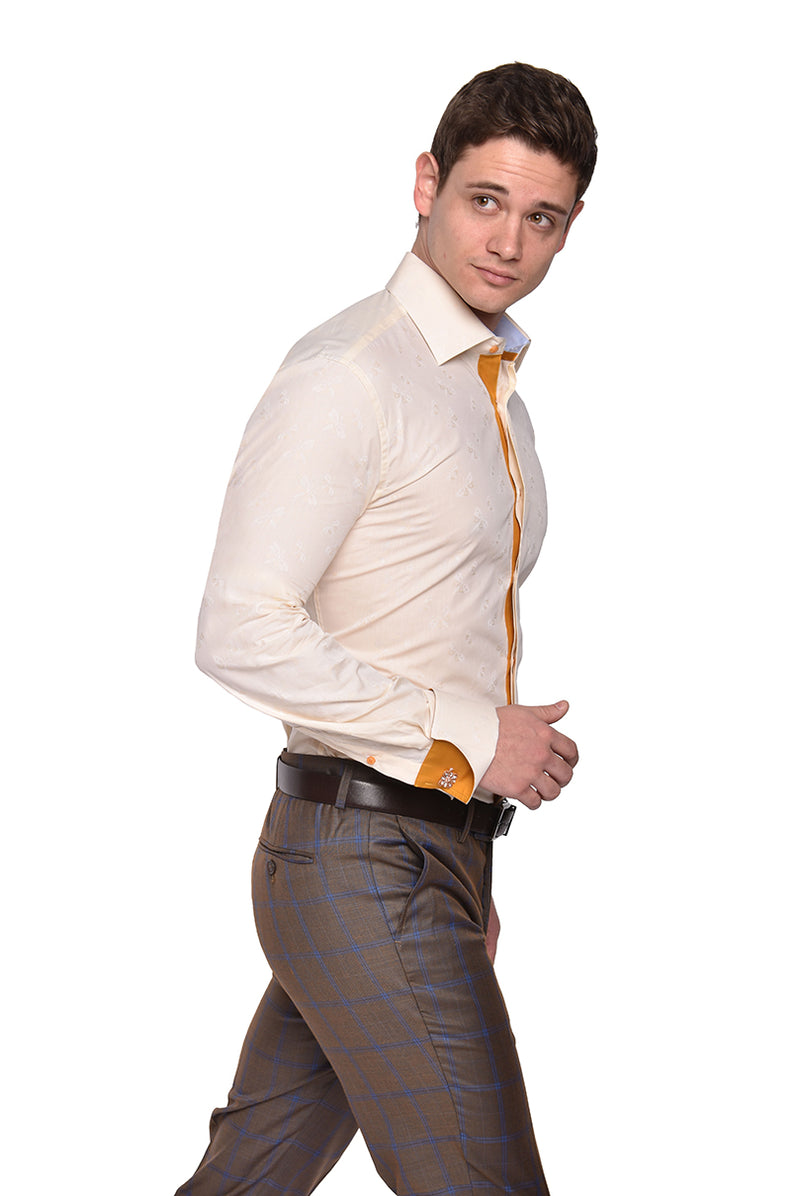 Dress Shirt | TA1908 | Trim Fit | Spread Collar | Shaped Convertible Cuff | Ochre