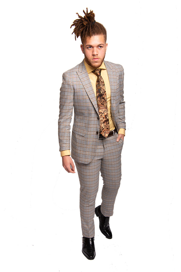 Steven Land | Slim Fit Dante Suit | Grey+Bronze Plaid