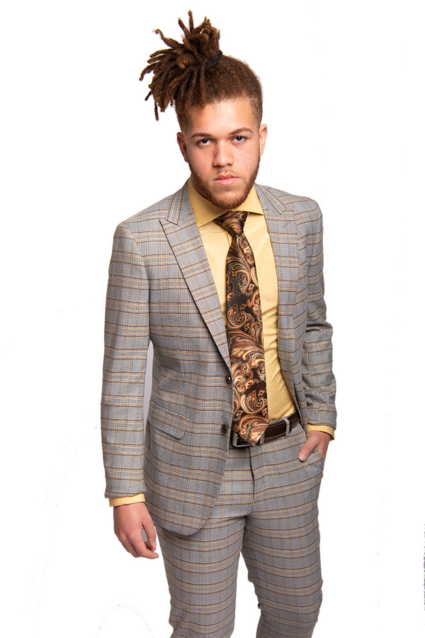 STEVEN LAND | Grey+Bronze Plaid Slim Fit 2 PC Dante Suit | SL77-548