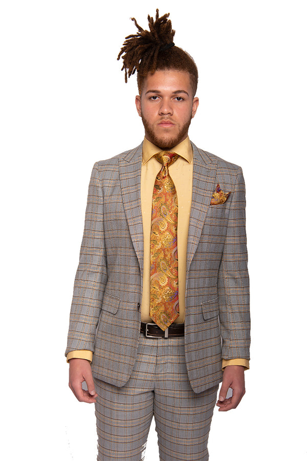 STEVEN LAND | Grey+Bronze Plaid | Slim Fit Dante Suit | SL77-548