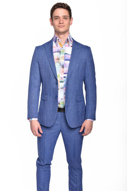 STEVEN LAND | Azure Blue Melange Slim Fit Dante Suit | SL77-300