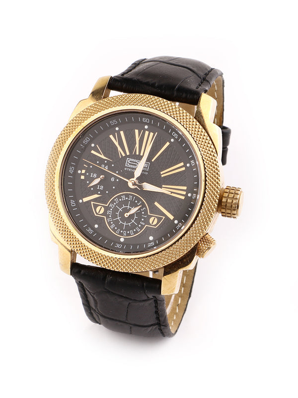 Steven Land Watch | Gold Class | Black Leather Strap